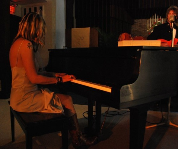 Video shoot carolyn on piano with scott